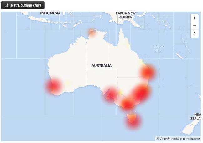Telstra outage map from AussieOutages screenshot