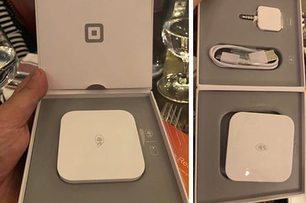 Square contactless reader in packaging