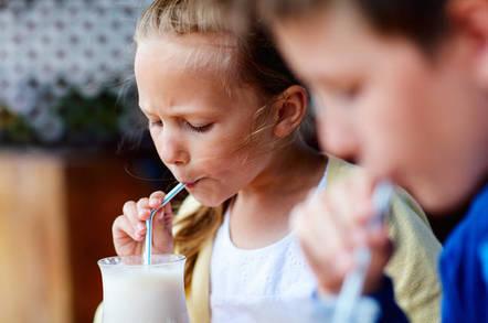 kids drink milkshake