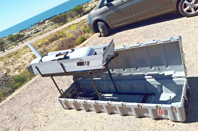 An Insitu Scaneagle 2 pictured in its transit case at Mazagon, Spain