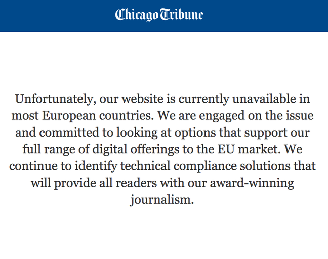 LA Tribune GDPR lock out