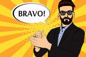 A hipster man with shades claps, saying bravo