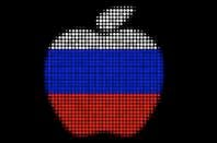 Apple logo as Russian flag