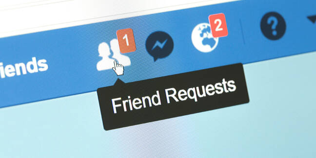 Screen with one new Facebook friend request
