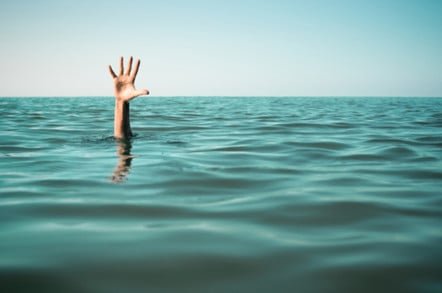 A hand outstretched from the water - asking for help...