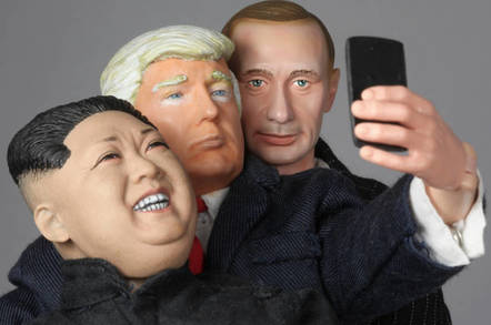 Models of Putin, Trump, and Kim taking a selfie