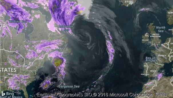 North Atlantic weather satellite. Pic: Accuweather/Microsoft Bing