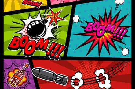 Stuff blowing up, comic book style