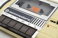 Tape cassette from the first models of a vintage Commodore 64