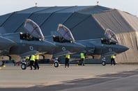 The first four F-35Bs to arrive in the UK pictured on the flight line at RAF Marham. Pic: Crown copyright/MoD