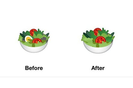 Google salad emoji with and without egg