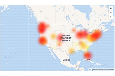 Downdetector.com outage map