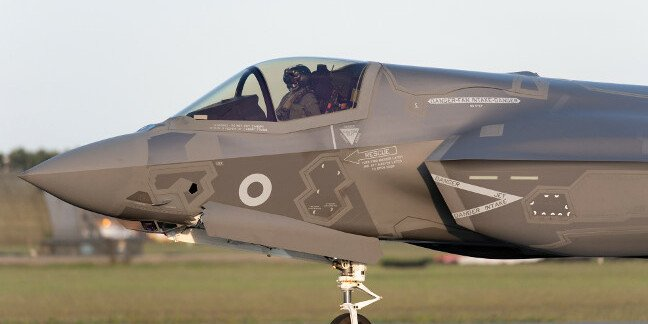 An RAF F-35B taxies in from its transatlantic delivery flight. Pic: Crown copyright/MoD