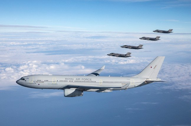 The first F-35Bs to be based in the UK pictured with an A330M Voyager. Pic: Crown copyright/MoD