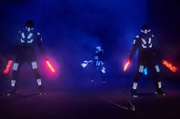 Dancers dressed as robots at rave