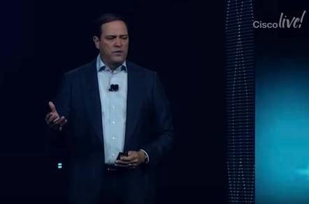Cisco Live keynote 2018 Chuck Robbins screengrab