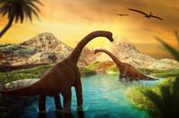 Diplodocus-looking dinosaurs in a lake (illustration)
