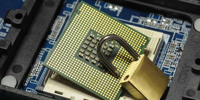 An unlocked padlock on a chip, hint hint