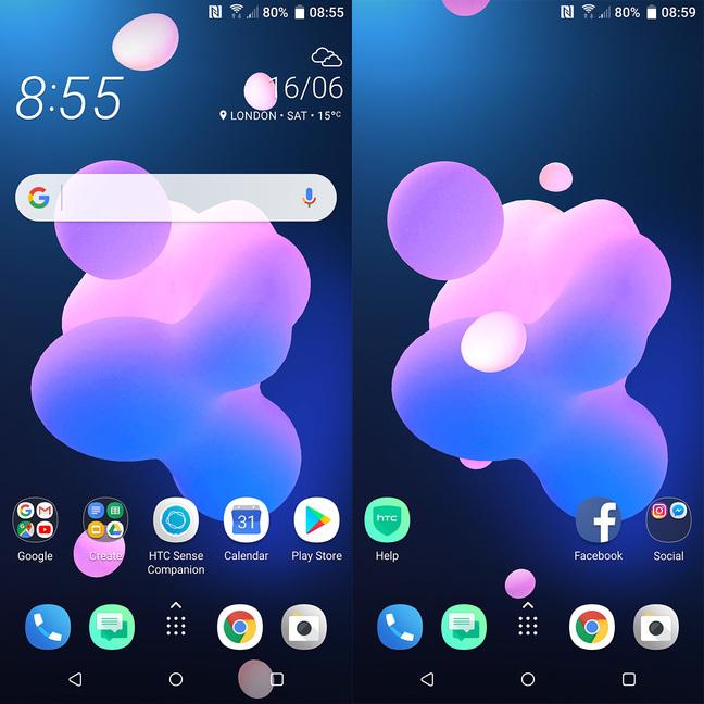 HTC U12+ Home screens