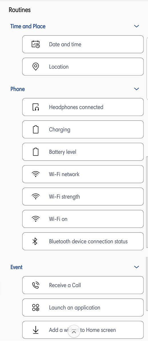 Samsung Routines triggers