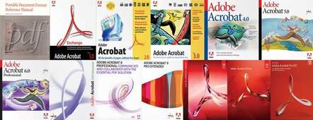 Illustration comprising all Adobe Acrobat product boxes from version 1 to DC