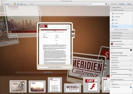 Crucifixes at the ready: Acrobat X Pro made this pretty PDF Portfolio interface possible with the aid of (eek) Flash.