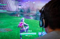 A gamer playing Fortnite