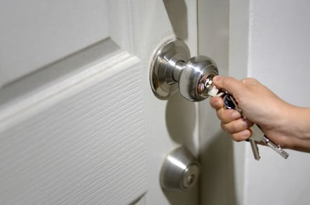 Hand locking door