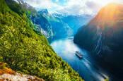Sunnylvsfjorden Fjord in Norway with a cruise ship