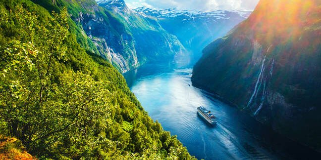 Sunnylvsfjorden Fjord in Norway with a cruise ship