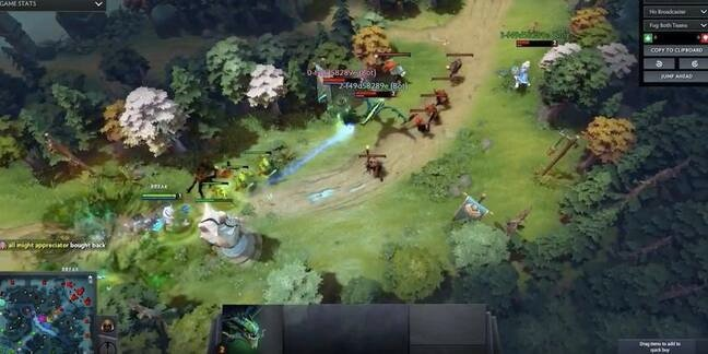 Dota 2 being played by OpenAI
