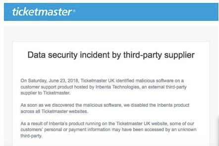 Ticketmaster breach notice