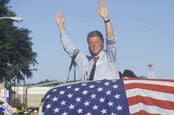 Clinton/Gore 1992 Buscapade campaign tour in Athens, Texas. Pic by Joseph Sohm/Shutterstock