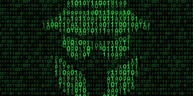 Spy wearing plague mask depicted as a negative image in binary code