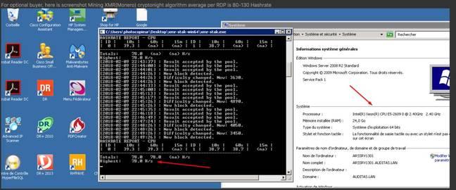 Monero mining via RDP ad [source: McAfee blog post screenshot]