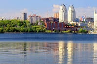 Buildings in Dnepr City seen from the Dnieper River, ukraine