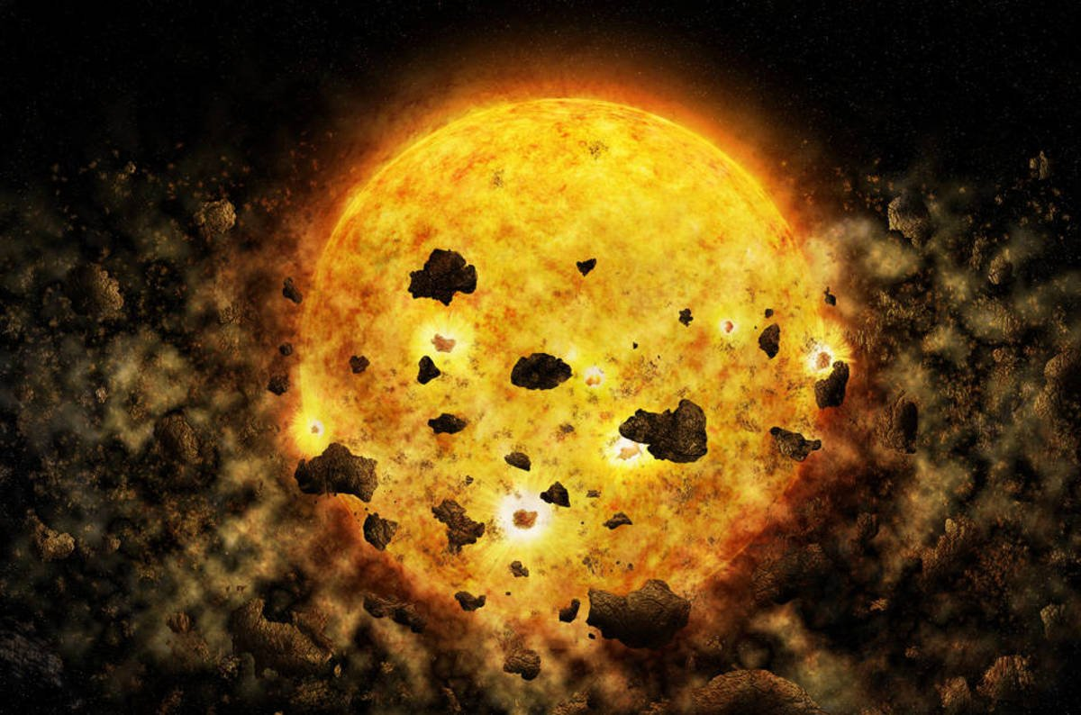 Alien sun has smashing time sucking up planets