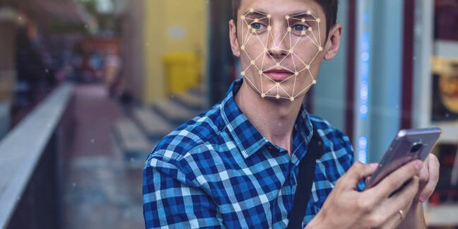 Man is mightily annoyed at having his face scanned