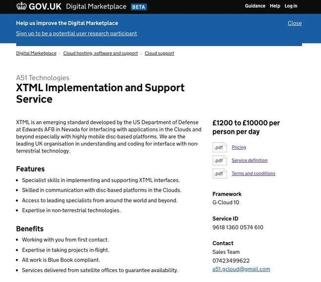 A screenshot of the XTML implementation and support service from A51 on G-Cloud