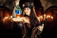 Steampunk alchemist holding a potion