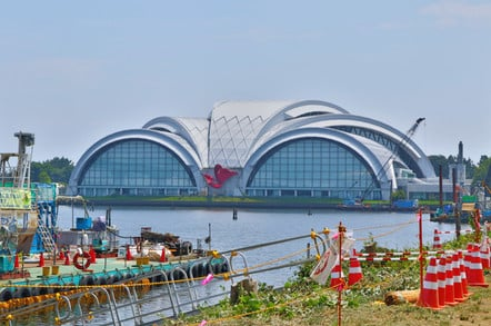 TOKYO, JAPAN. 2018 July 24th. Under Construction Building of New Olympic Arena, at 2020 Tokyo. Pic: Shutterstock/sl yellow