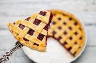 Sliced latticed pastry cherry pie. Pic by shuttertsock