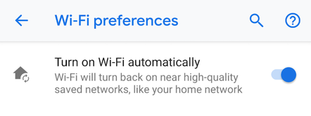 Android P WiFi Settings