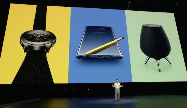 Samsung Galaxy Note 9, Galaxy Watch, and Galaxy Home speaker