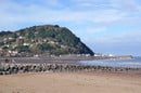 A beach landscape of Minehead, Somerset in February at low tide