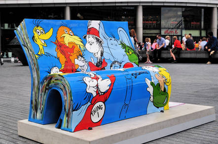 The Dr Seuss BookBench sculpture. Pic: shutterstock/ron ellis
