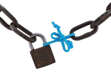 A chain tied with a string
