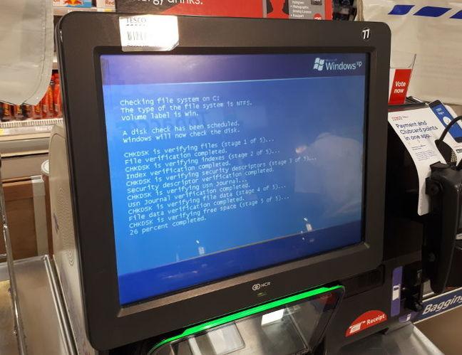 Windows XP running on a Tesco self-checkout