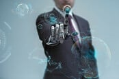 businessman operating virtual hud interface and manipulating elements with robotic hand
