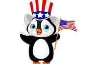 Linux penguin with American flag-themed hat and flag